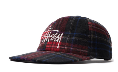 STUSSY BIG LOGO PLAID LOW PRO CAP - Black