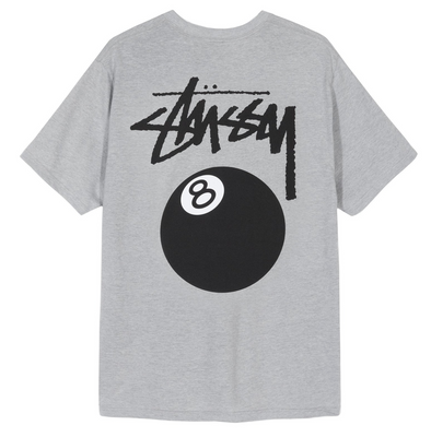 STUSSY 8 BALL TEE - Heather Grey
