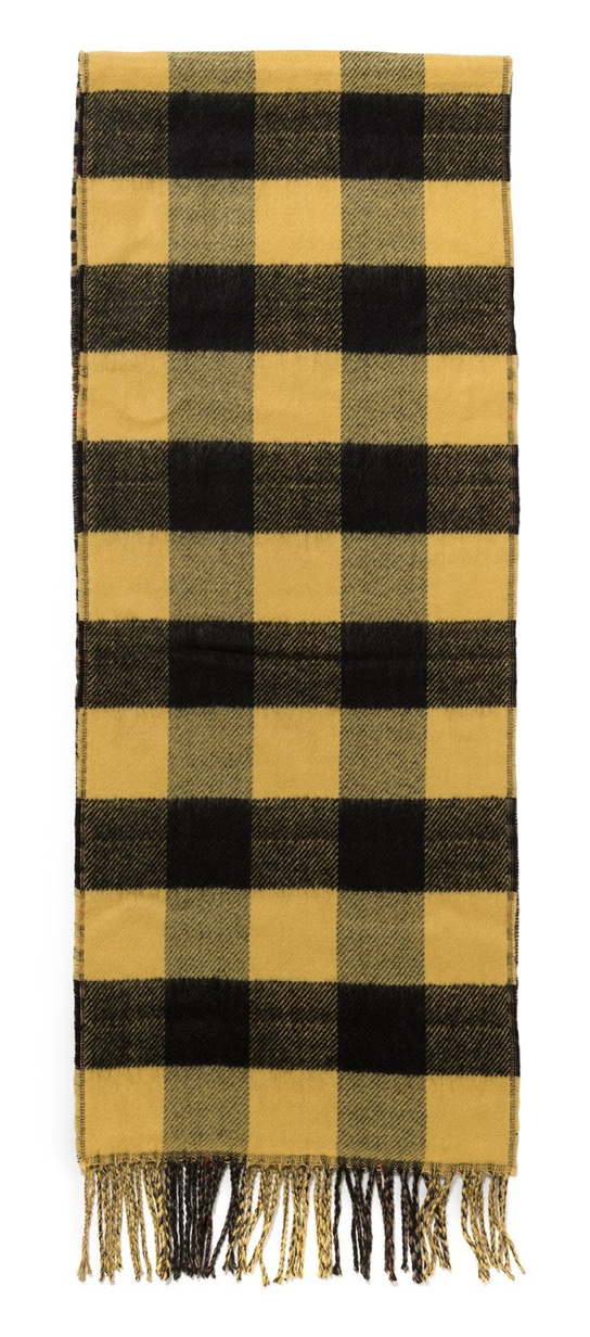STUSSY DOUBLE FACED WOOL SCARF - Yellow / Plaid