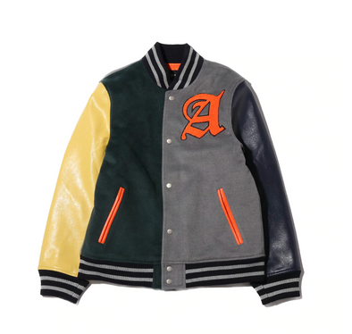atmos MULTI VARSITY JACKET - GREEN/GRAY