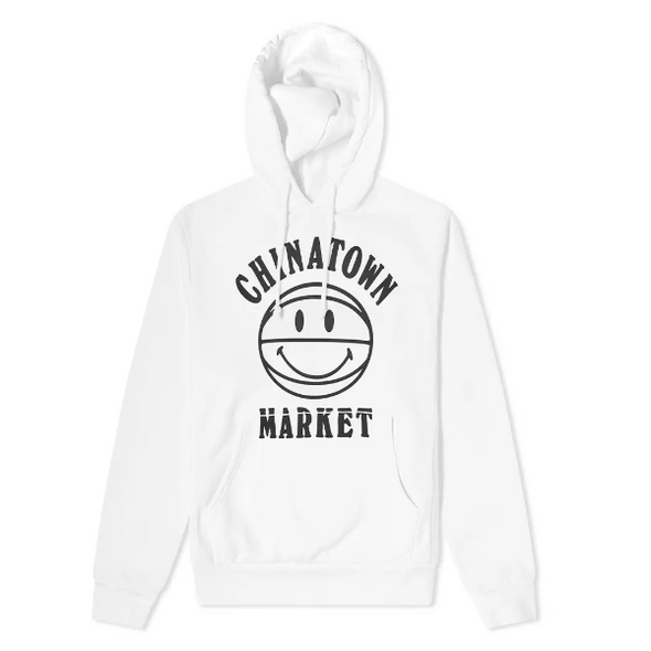 CHINATOWN MARKET SMILEY UV BBALL HOODIE - WHITE