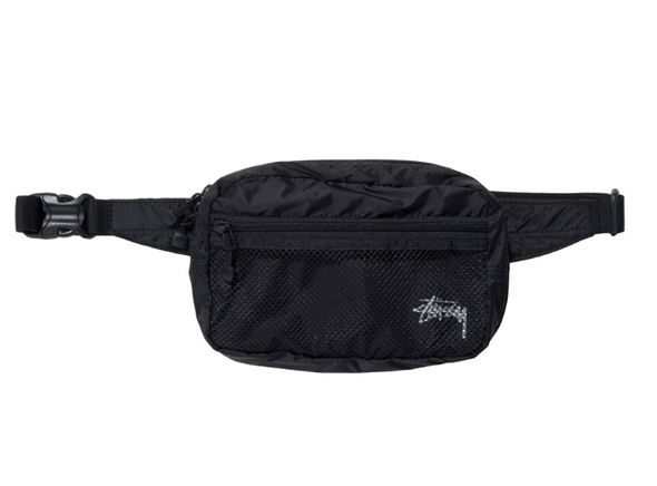 STUSSY LIGHT WEIGHT WAIST BAG - BLACK