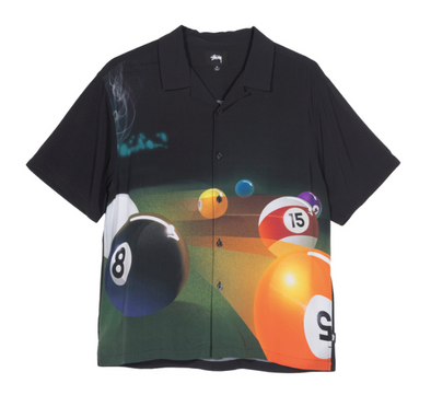 MEN'S STUSSY POOL HALL SHIRT - BLACK