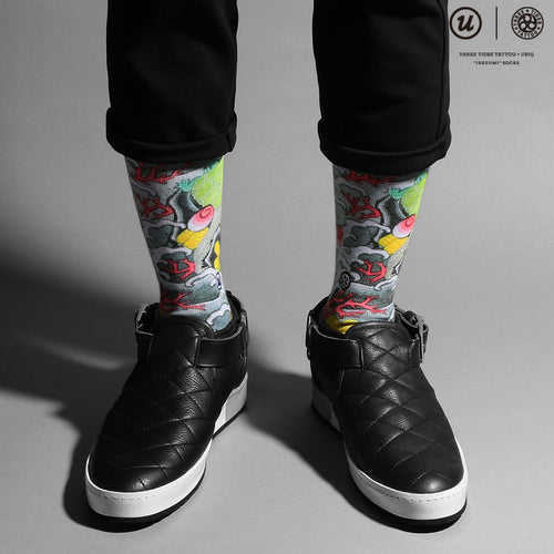 "THREE TIDES TATTOO × UBIQ ""IREZUMI"" SOCKS Takarazukushi"