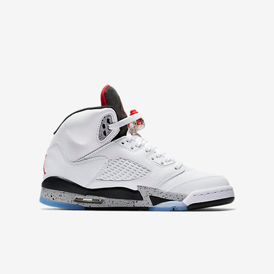 NIIKE AIR JORDAN V (GRADE SCHOOL) - WHITE/UNIVERSITY RED