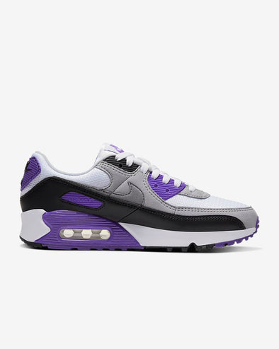 WMNS NIKE AIR MAX 90 - WHITE/PARTICLE GREY-HYPER GRAPE-BLACK