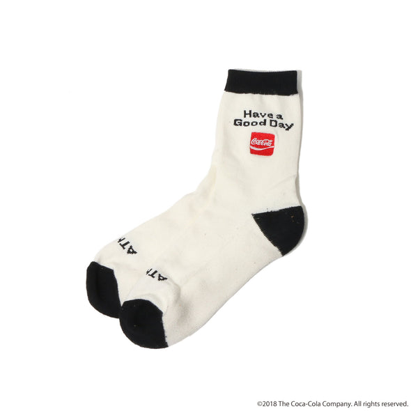 ATMOS LAB COCA - COLA by ATMOS LAB HAVE A GOOD DAY SOCKS - White
