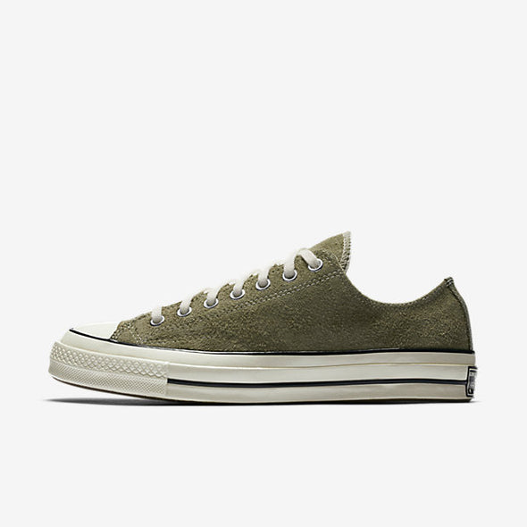 CONVERSE CHUCK TAYLOR ALL STAR '70 VINTAGE SUEDE LOW TOP - MEDIUM OLIEVE / EGRET / EGRET