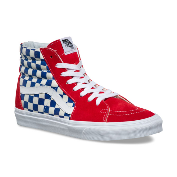 VANS BMX CHECKERBOARD SK8-HI - Red / Blue Checkerboard