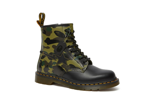 MEN'S DR MARTENS X BAPE 1460 SMOOTH CAMO ZIP - KHAKI/BLACK