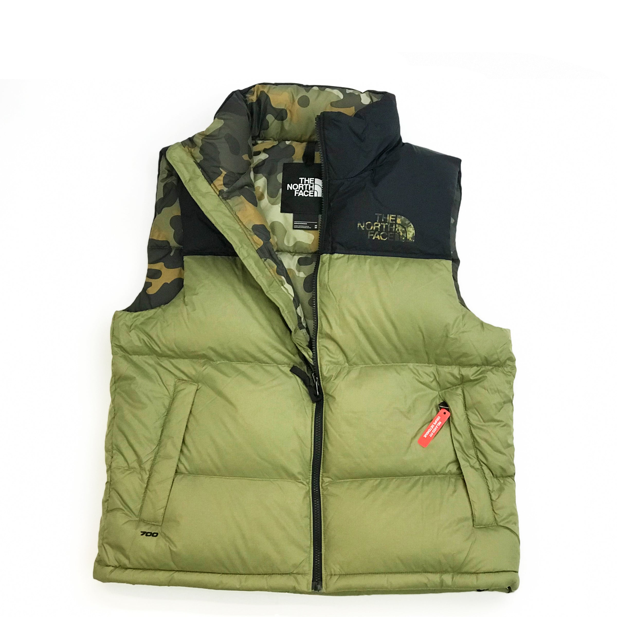 8f27d7dafe35d THE NORTH FACE 1996 RETRO NUPTSE VEST - TUMBLEWEED GREEN/NEW TAUPE GREEN  MACROFLECK PRINT