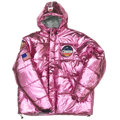 Champion USA Metallic Puffer Jacket - Metallic Pink
