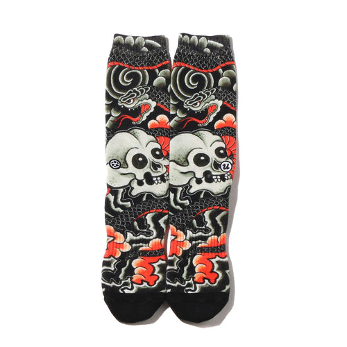 "THREE TIDES TATTOO × UBIQ ""IREZUMI"" SOCKS (HeviDokuro) Designed by Horitatsu BLACK"