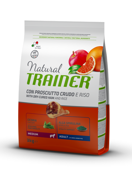 "Croccantini per cani ""Natural Trainer Medium Adult al Prosciutto Crudo"" - Trainer"