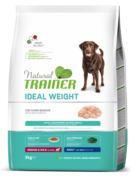 "Croccantini per cani ""Natural Trainer Ideal Weight MediumMaxi Adult Carni Bianche"" - Trainer"