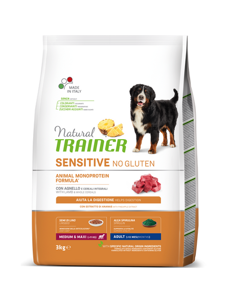 "Croccantini per cani ""Natural Trainer Sensitive No Gluten MediumMaxi Adult all'agnello"" - Trainer"