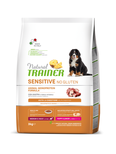 "Croccantini per cani ""Natural Trainer Sensitive No Gluten MediumMaxi Puppy&Junior all'anatra"" - Trainer"