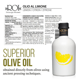Nutrition Facts for ROI Extra Virgin Olive Oil Flavored with Lemon