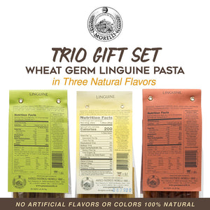 Morelli Linguine Pasta Trio Set of 3 Flavors - Red Chili, Garlic & Basil, Lemon Pepper (3x 250g)