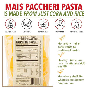 Nutrition Facts for Pastificio Morelli Riso e Mais Paccheri Pasta