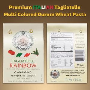 Nutrition Facts for Morelli Arcobaleno Tagliatelle Rainbow Semolina Pasta
