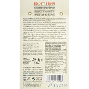 Nutrition Facts for Morelli Fioccchetti 6 Sapori Bowtie Pasta Naturally Flavored