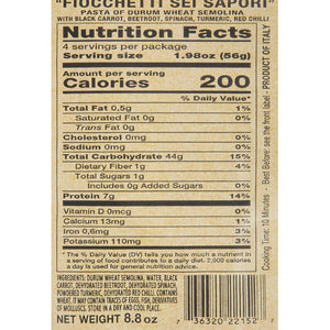 Nutrition Facts for Morelli Fioccchetti 6 Sapori Bowtie Pasta