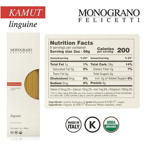 Nutrition Facts for Monograno Felicetti Organic Linguine Pasta