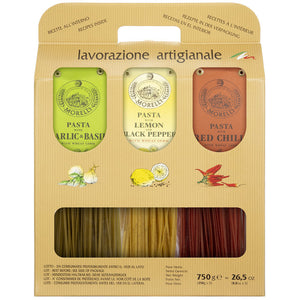 Morelli Linguine Pasta Trio Set of 3 Flavors Red Chili, Garlic & Basil and Lemon Pepper
