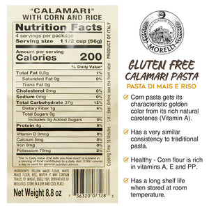 Nutrition Facts For Morelli Riso e Mais Calamari Pasta