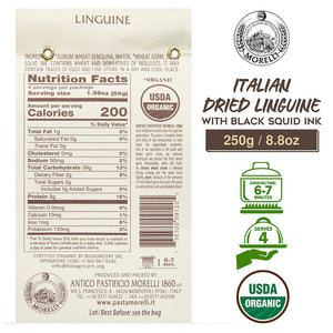 Nutrition Facts for Morelli Organic Linguine Pasta with Squid Ink