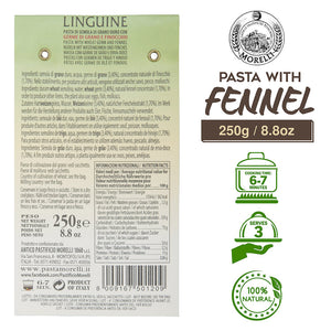 Nutrition Facts for Morelli Finocchio Linguine Pasta with Fennel