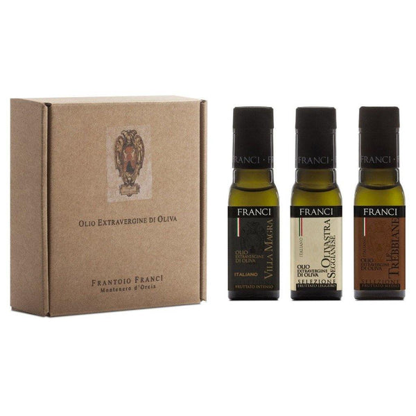 Frantoio Franci - Olio Extravergine Di Oliva - Extra Virgin Italian Olive Oil Three Piece Gift Set - 10.2 fl.oz (300ml)