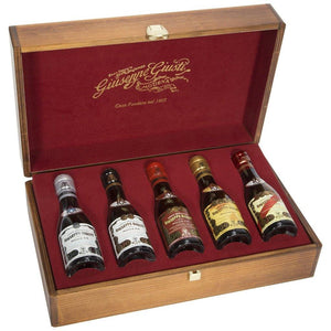 Giuseppe Giusti Italian Balsamic Vinegar of Modena 5 Bottles in Wooden Gift Box