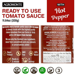 Agromonte Cherry Tomato Pasta Sauce with Hot Peppers 11.64oz