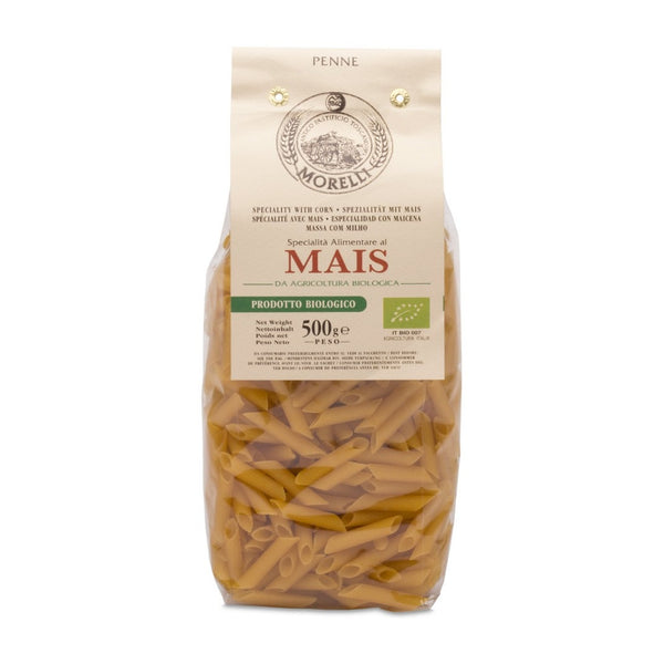 Morelli - Organic Penne Mais - Speciality Pasta with Corn - 17.6oz (500g)