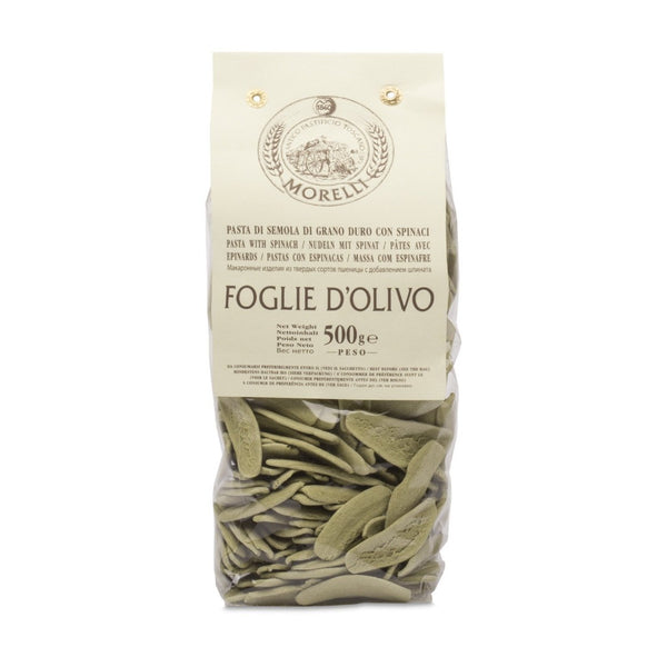 Morelli - Foglie d'Olivo agli Spinaci - Italian Dried Olive Leaf Shaped Pasta with Spinach - 17.6oz (500g)