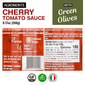 Agromonte Cherry Tomato Pasta Sauce (Puttanesca) with Olives and Capers 9.17oz