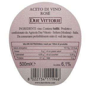 Due Vittorie Aceto di Vino Rosé Wine Vinegar 500ml