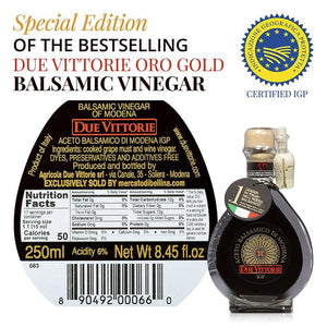 Nutrition Facts for Due Vittorie Special Edition Gold Balsamic Vinegar of Modena