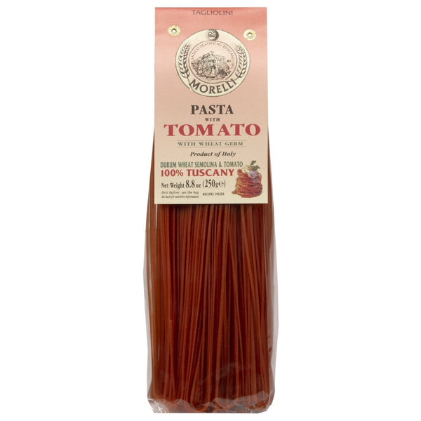 Morelli Pasta Tagliolini with Tomato and Wheat Germ Made in Italy, 8.8oz / 250g