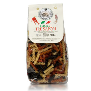 Morelli Pasta Three Flavors Fusilli Imported from Italy 500g