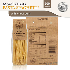 Nutrition Facts for Morelli Pasta Spaghetti with Wheat Germ Imported from Italy