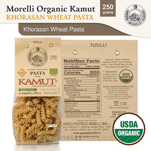 Nutrition Facts for Morelli Pasta KAMUT Khorasan Wheat Organic Fusilli