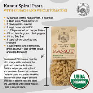 Kamut Spiral Pasta with Spinach and Whole Tomatoes