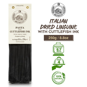 Morelli Pasta Linguine al Nero di Seppia - Italian Dried Linguine with Cuttlefish Ink  - 8.8oz (250g)