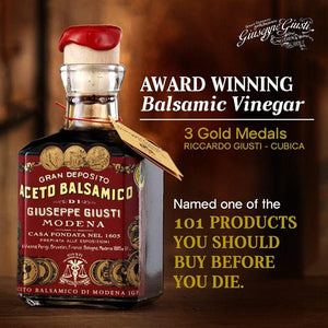 Gift Set of Giuseppe Giusti Balsamic Vinegar & White Bianco Condiment Dressing - Mercato Di Bellina