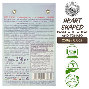 Nutrition Facts for Morelli Heart Shaped Pasta with Tomato and Wheat Germ