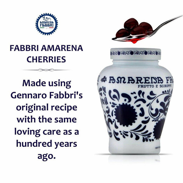 Fabbri Amarena Italian Speciality Stemless Stoned Cherries in Rich Syrup, 21oz