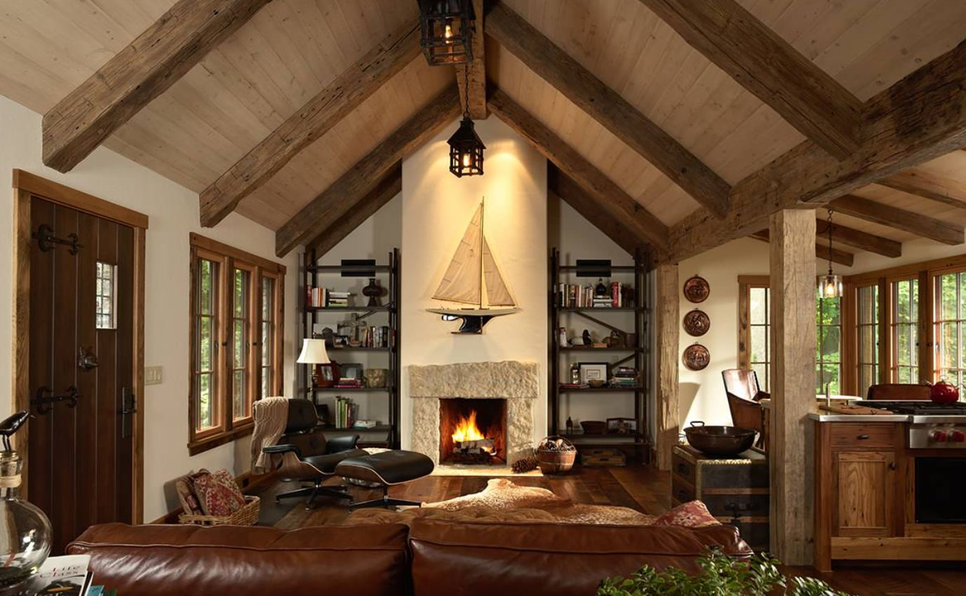 great room with cathedral ceiling vaulted ceiling